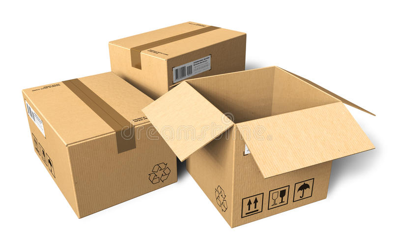 Cardboard boxes. Set of cardboard boxes isolated over white background vector illustration