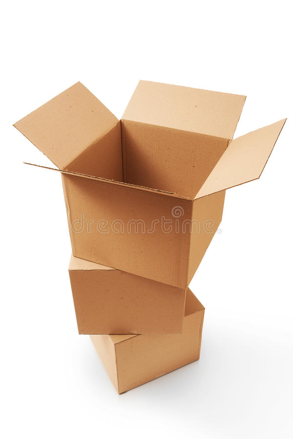 Cardboard boxes. A stack of cardboard boxes stock photos