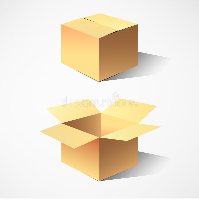 Cardboard boxes. Two Empty cardboard boxes vector illustration vector illustration