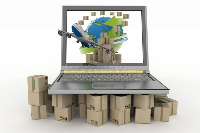 Download Cardboard Boxes Around The Globe On A Laptop Screen And Airplane Stock Illustration - Image: 41453671