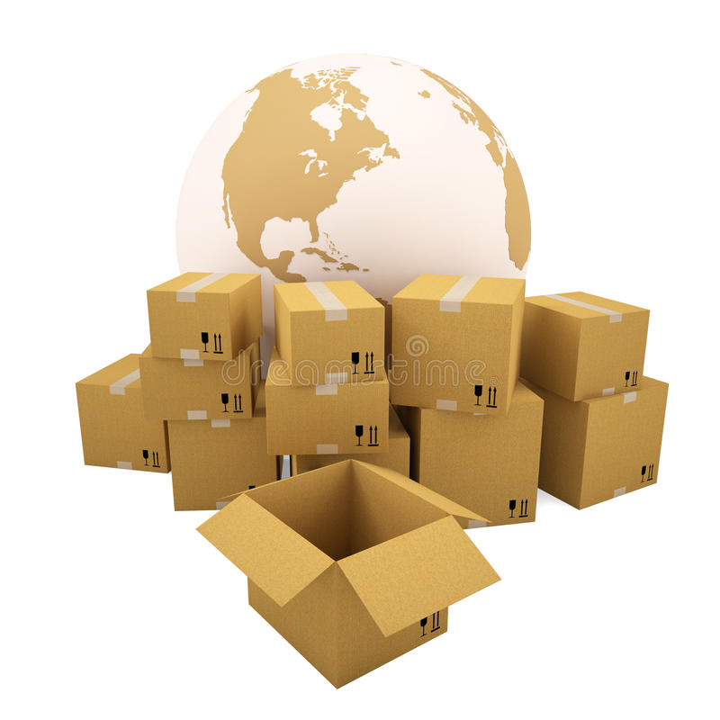 Download Cardboard Boxes On The Background Of The Earth Stock Illustration - Image: 28794253