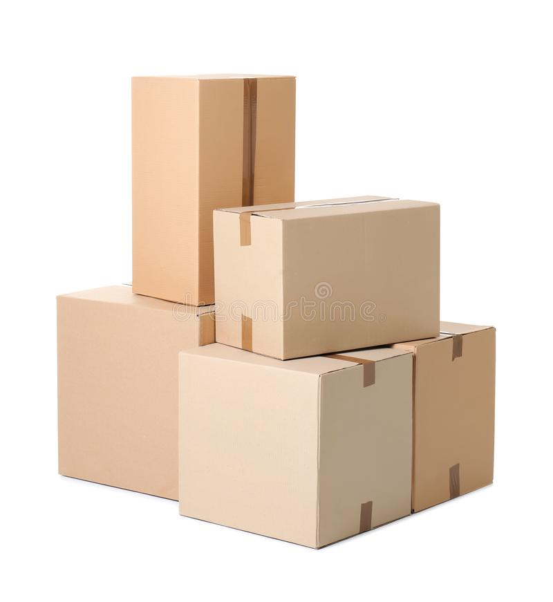 Cardboard boxes on background. Cardboard boxes on white background stock image