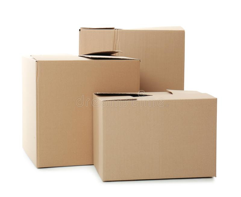 Cardboard boxes on background. Cardboard boxes on white background royalty free stock photography