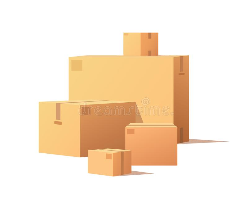 Cardboard Boxes Big and Small Size Isolated Vector. Cardboard boxes of big and small size isolated vector. Fragile packs, closed packages with adhesive tape vector illustration