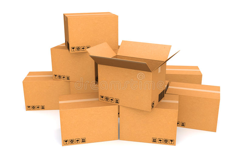 Cardboard boxes. stock images