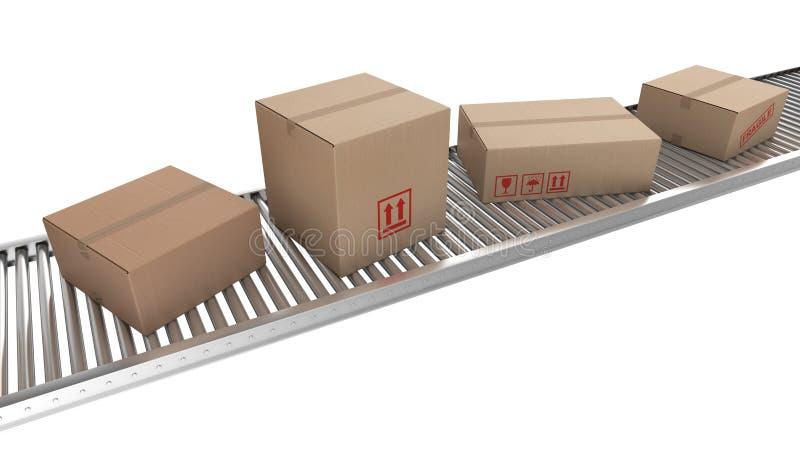 Cardboard boxes on conveyor belt vector illustration