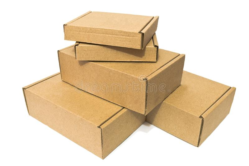 Cardboard boxes for delivery service, moving, package or gifts isolated on a white royalty free stock photography