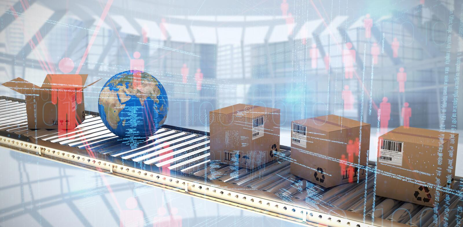 Composite image of cardboard boxes and globe on conveyor belt royalty free stock photography