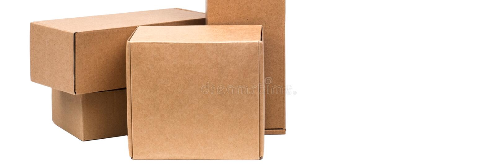 Cardboard boxes for goods on a white background. Different size. Isolated on white background.  royalty free stock image