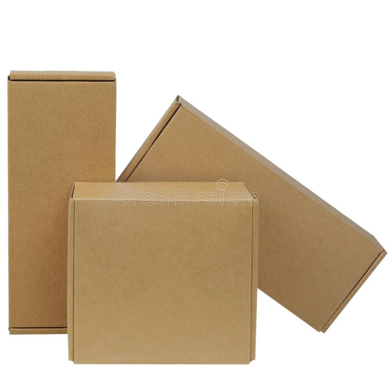 Cardboard boxes for goods on a white background. Different size. Isolated on white background.  stock photography