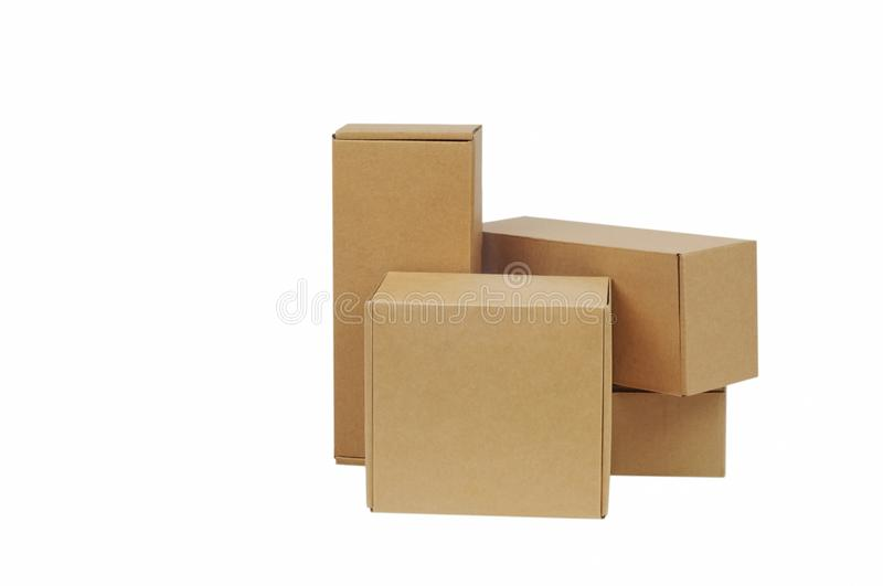 Cardboard boxes for goods on a white background. Different size. Isolated on white background.  stock images