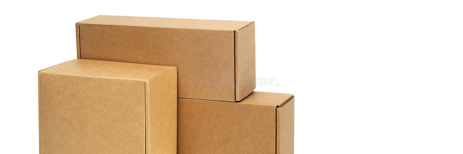 Cardboard boxes for goods on a white background. Different size. Isolated on white background.  stock photo