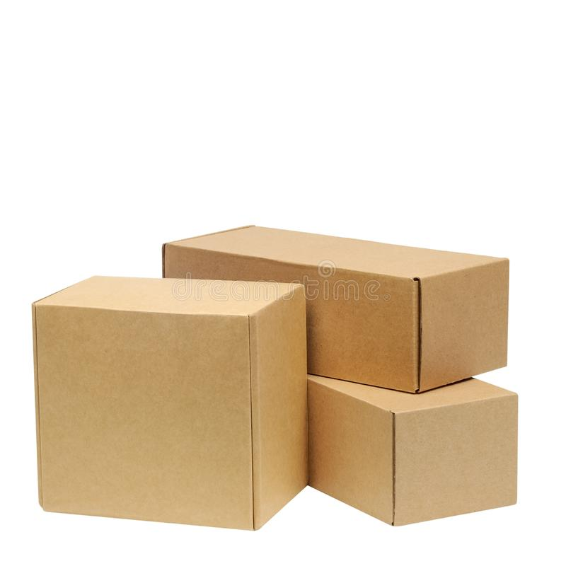 Cardboard boxes for goods on a white background. Different size. Isolated on white background.  royalty free stock photos