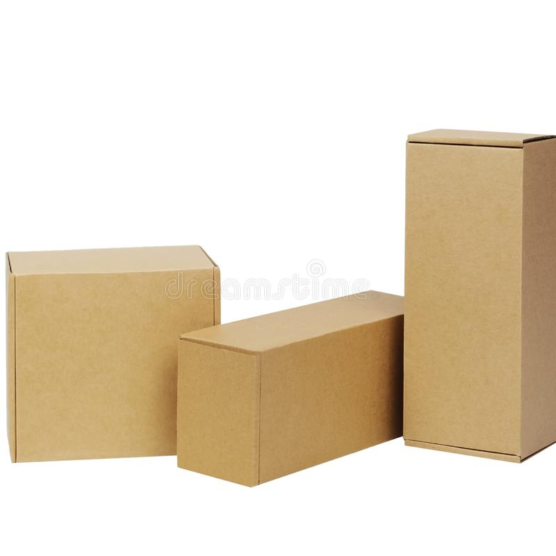 Cardboard boxes for goods on a white background. Different size. Isolated on white background.  stock image