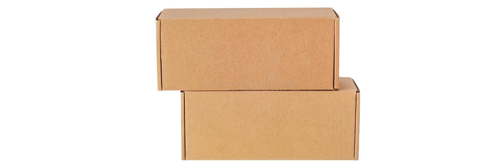Cardboard boxes for goods on a white background. Different size. on white background.  stock images