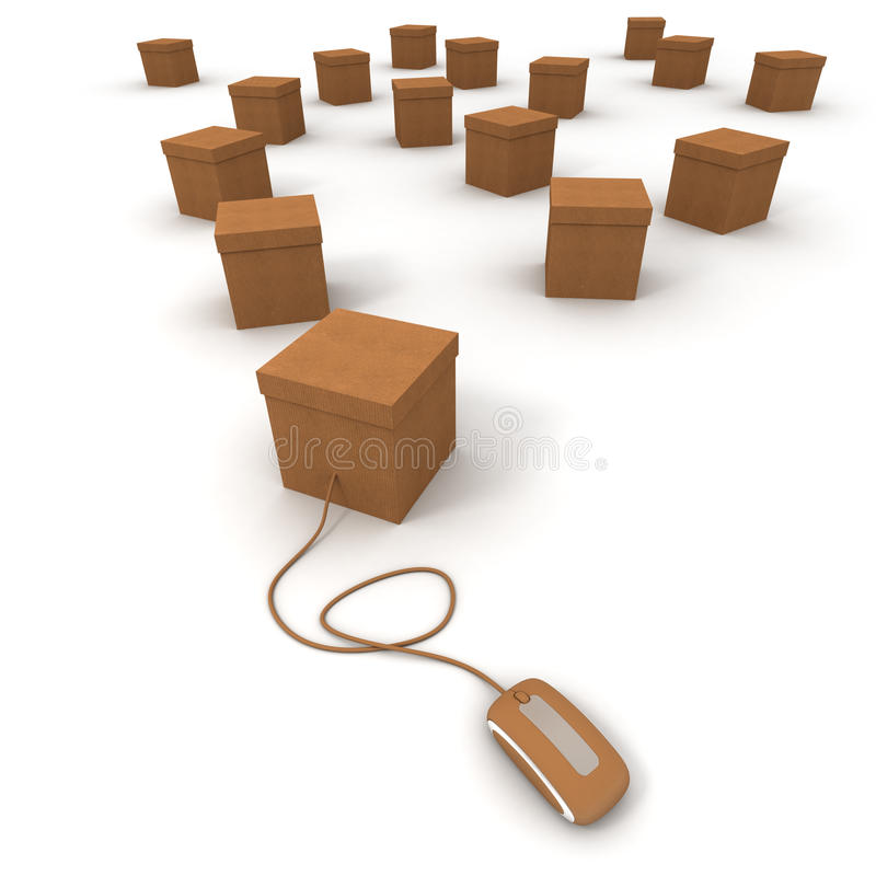 Cardboard Boxes And Internet Connexion Stock Image