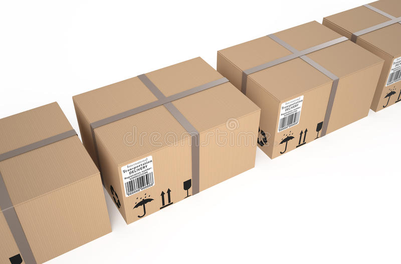 Cardboard boxes. Isolated on white background vector illustration