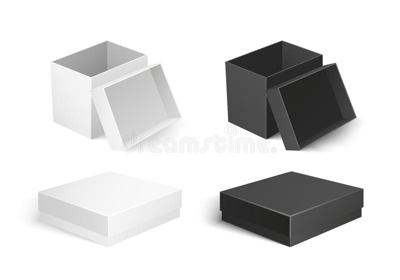 Cardboard Carton Container Isolated Icon Vector. Cardboard boxes made of carton material, small container for products storage and transportation. Icons of vector illustration