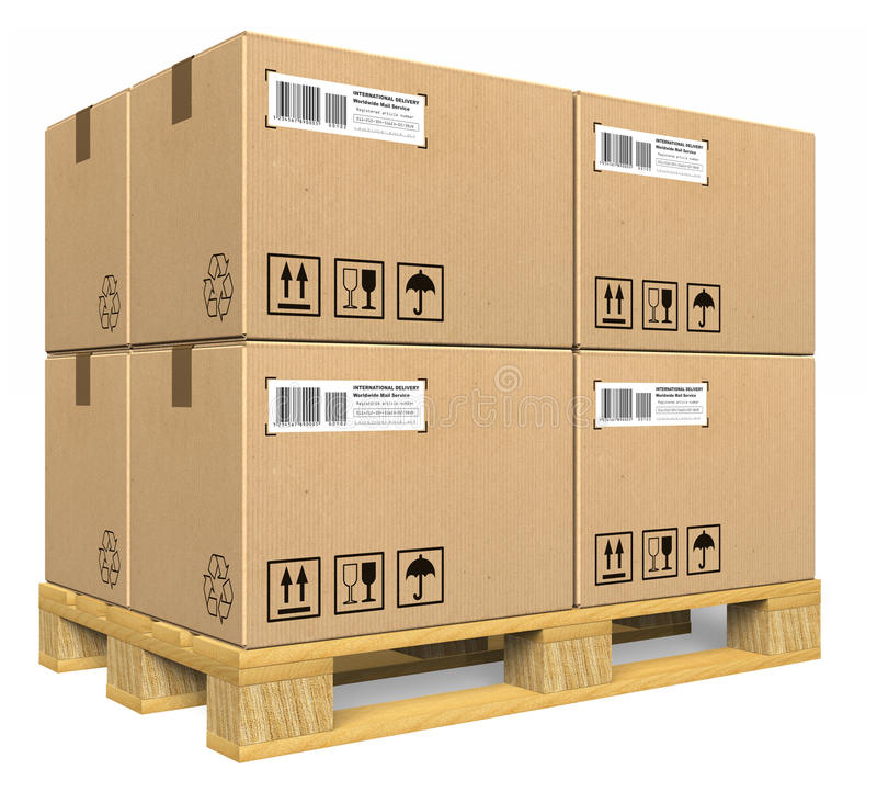 Cardboard boxes on pallet. Isolated over white background royalty free illustration