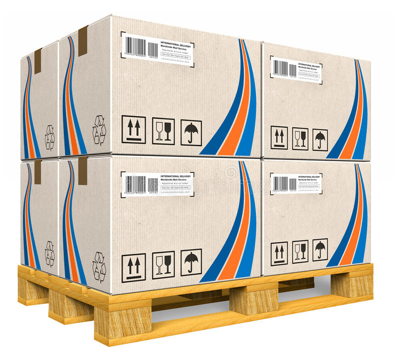 Cardboard boxes on pallet. Set of cardboard boxes on wooden pallet isolated over white background vector illustration