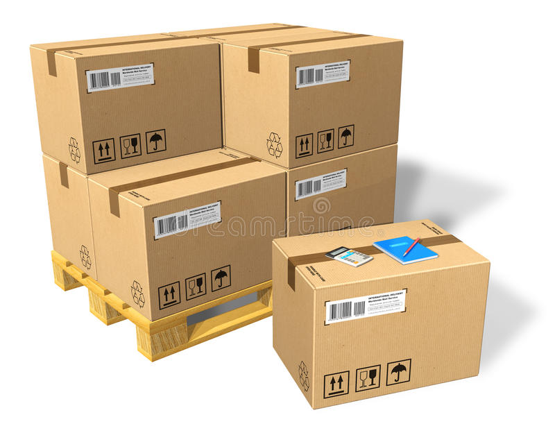 Cardboard boxes on pallet. Isolated on white background stock illustration