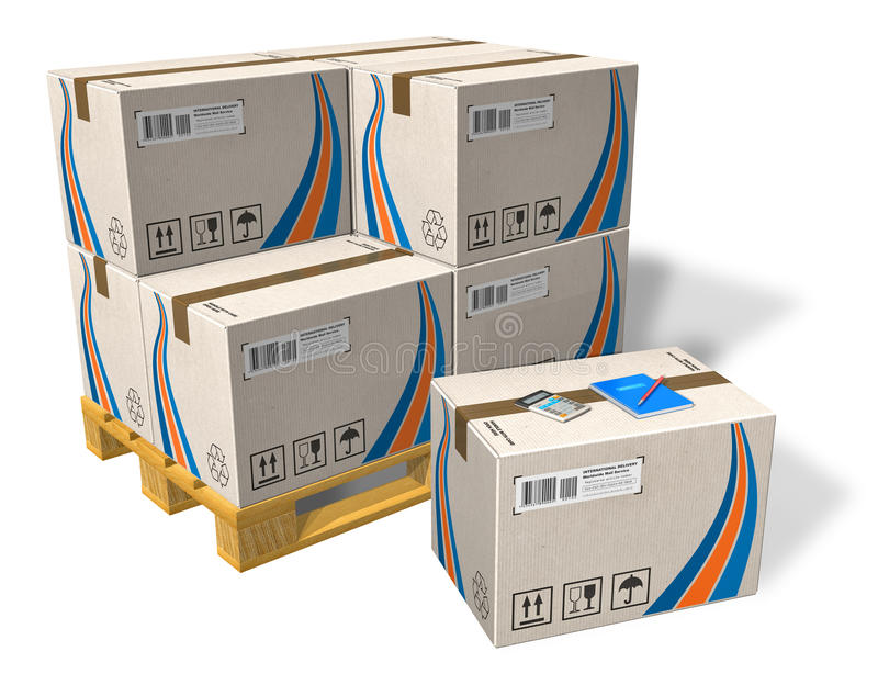 Cardboard boxes on pallet. Set of cardboard boxes on pallet isolated on white background stock illustration