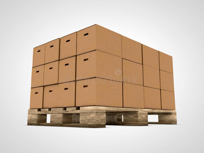 Cardboard boxes on pallet royalty free illustration