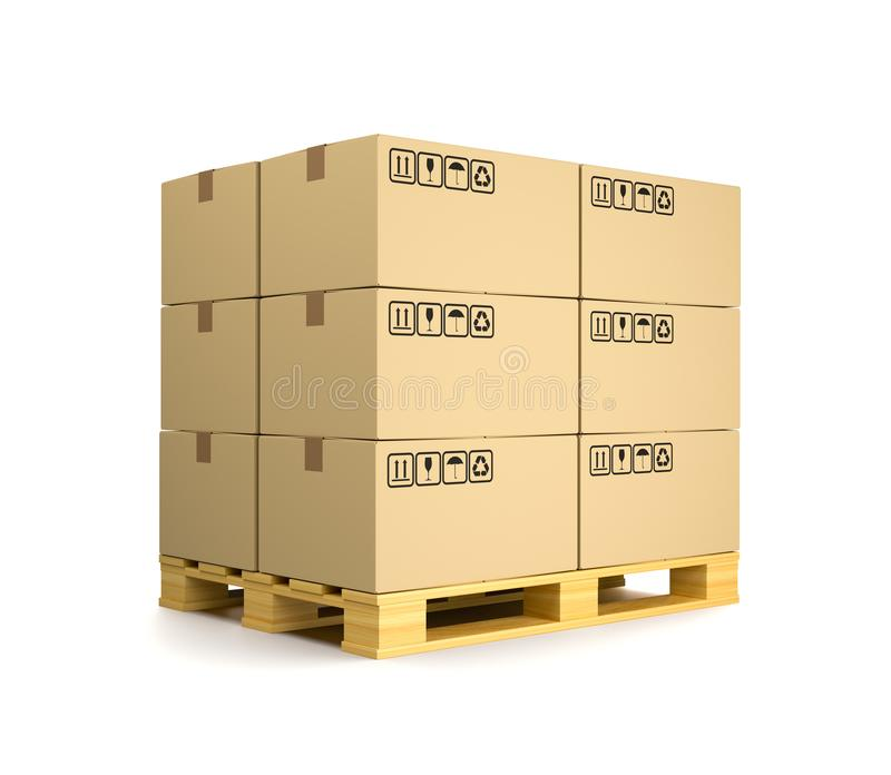 Cardboard Boxes on a Pallet stock illustration