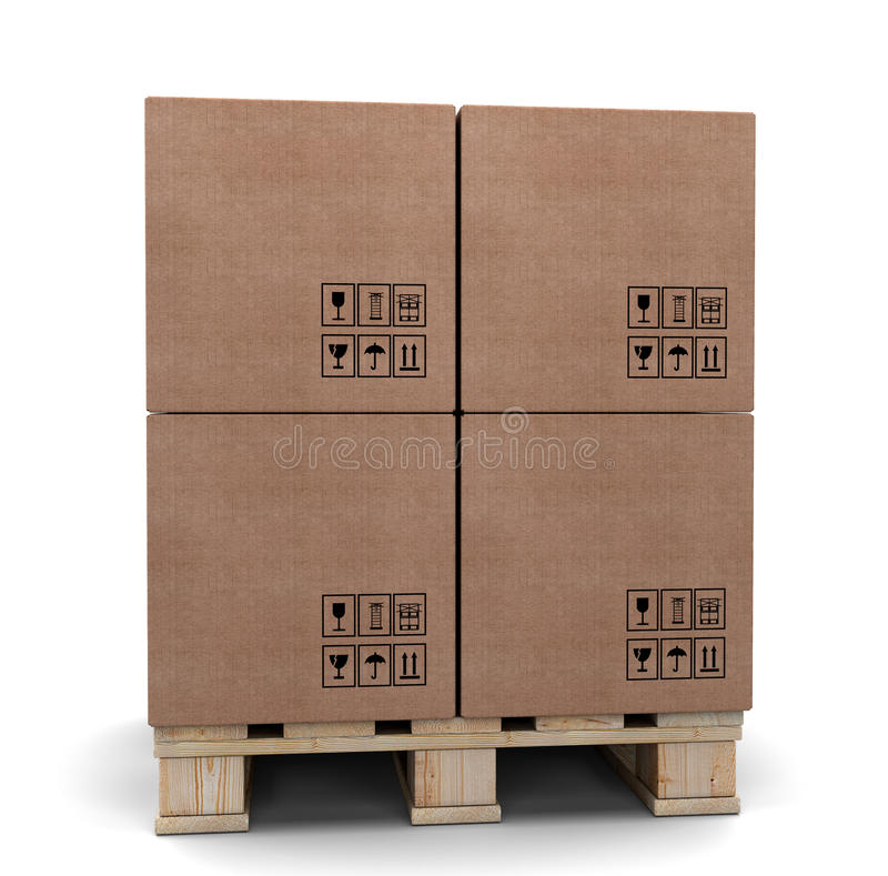 Cardboard boxes on a pallet. royalty free illustration