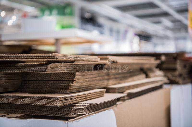 Cardboard boxes pieces in a pile at store stock photo