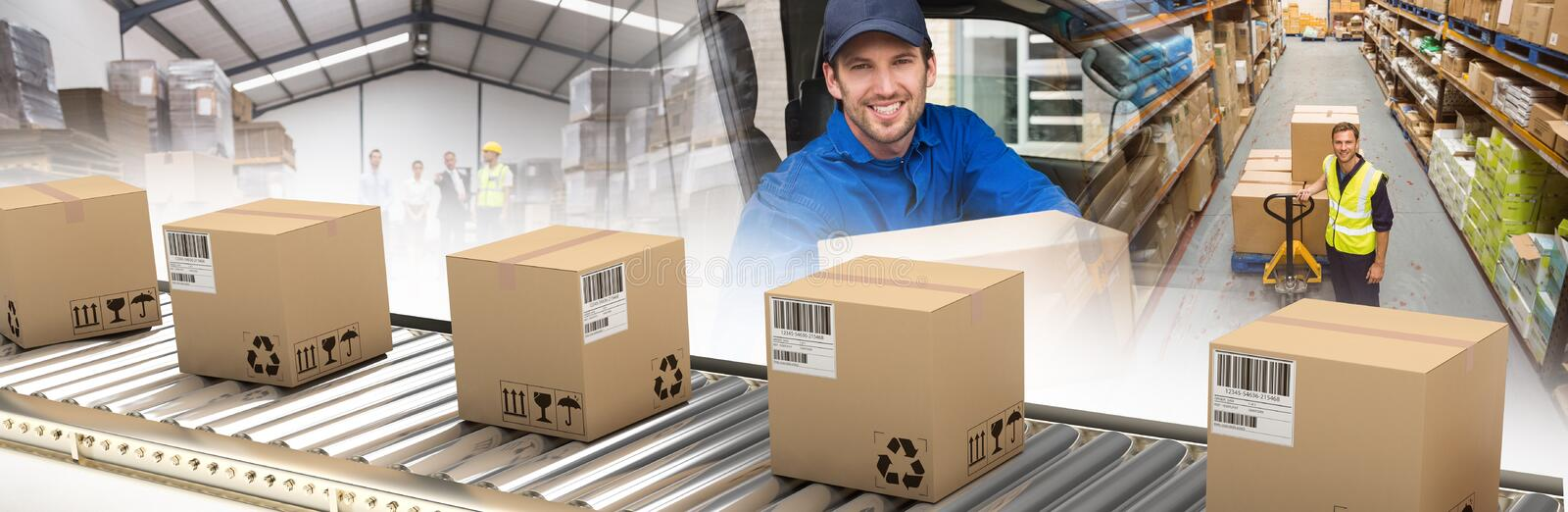 Composite image of cardboard boxes on production line royalty free stock image