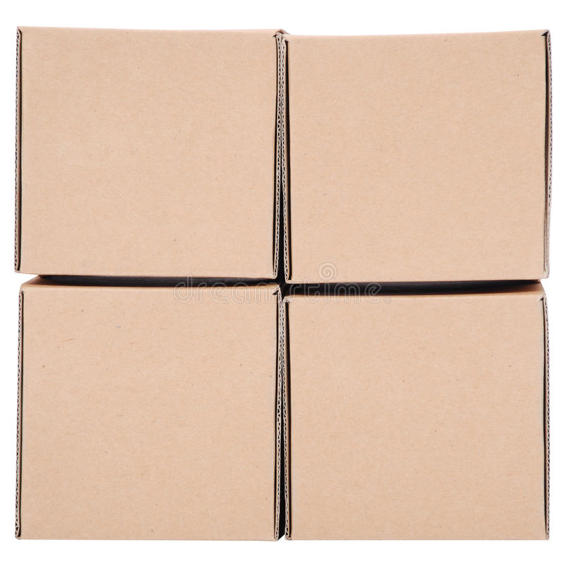 Cardboard boxes. Pyramid from boxes. On white background stock photos
