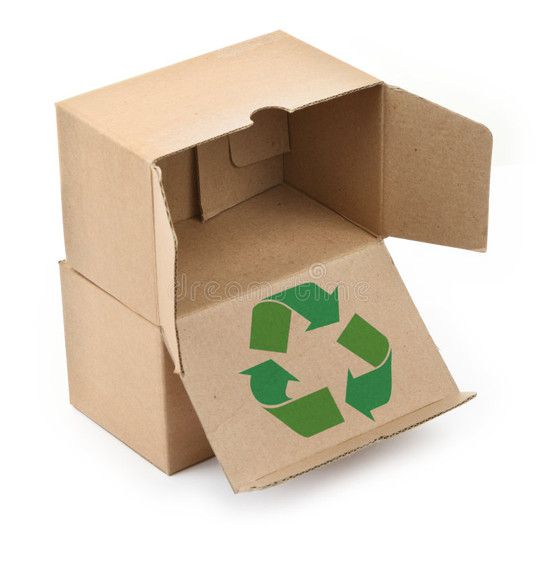Cardboard boxes with recyclable symbol. Close-up of cardboard boxes with recyclable symbol against white background royalty free stock image