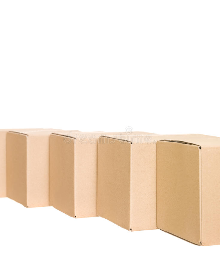 Cardboard boxes in a row stock photography