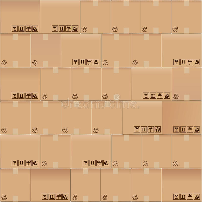 Cardboard boxes seamless. Mosaic of corrugated cardboard boxes stock illustration
