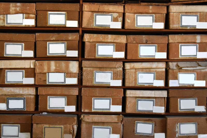 Download Cardboard Boxes In A Shelf Stock Image. Image Of Covered    103790983