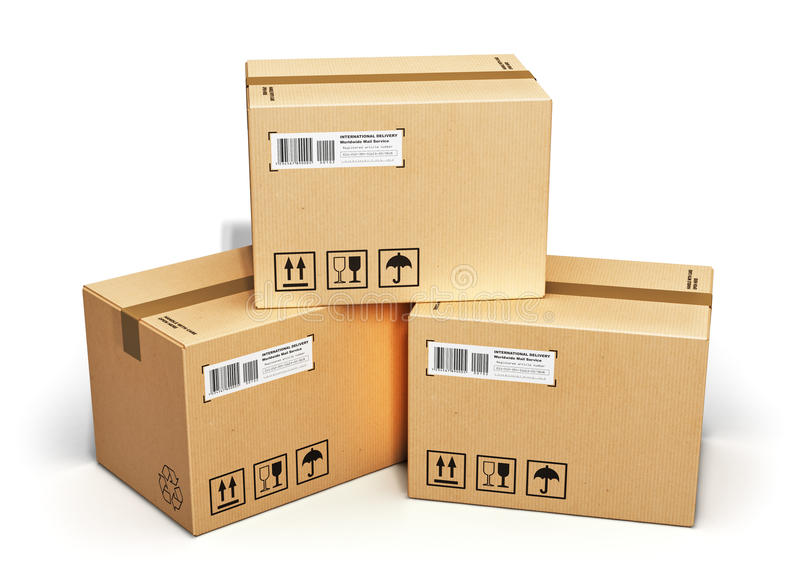 Cardboard boxes. Shipping, logistics and retail goods delivery business concept: stack of corrugated cardboard box packages isolated on white background stock illustration