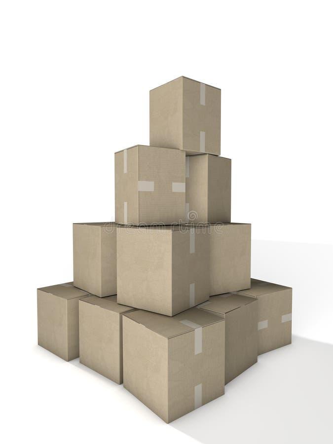 Cardboard Boxes Stack royalty free illustration