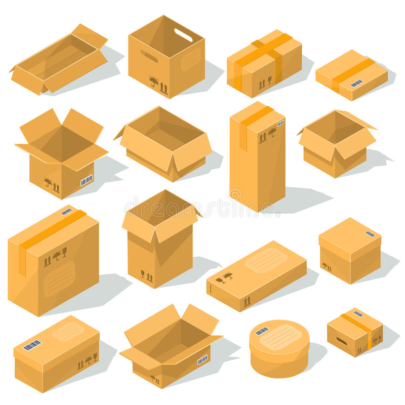 cardboard boxes of various shapes and sizes with emblems of fragility on them stock illustration