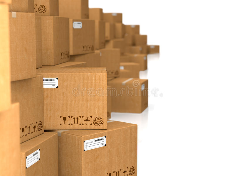 Download Cardboard Boxes On White Background. Royalty Free Stock Photography - Image: 28859697