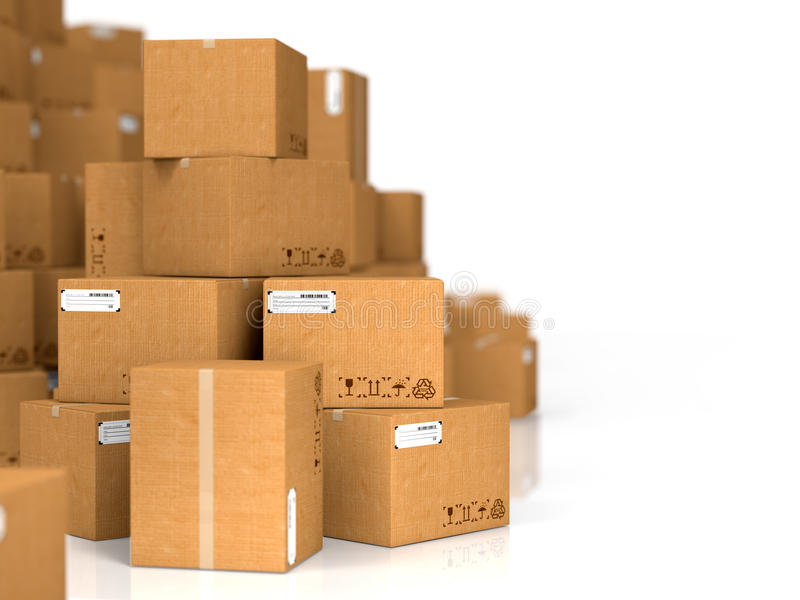 Cardboard Boxes On White Background. Stock Photography