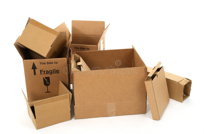 Cardboard boxes on white background stock images