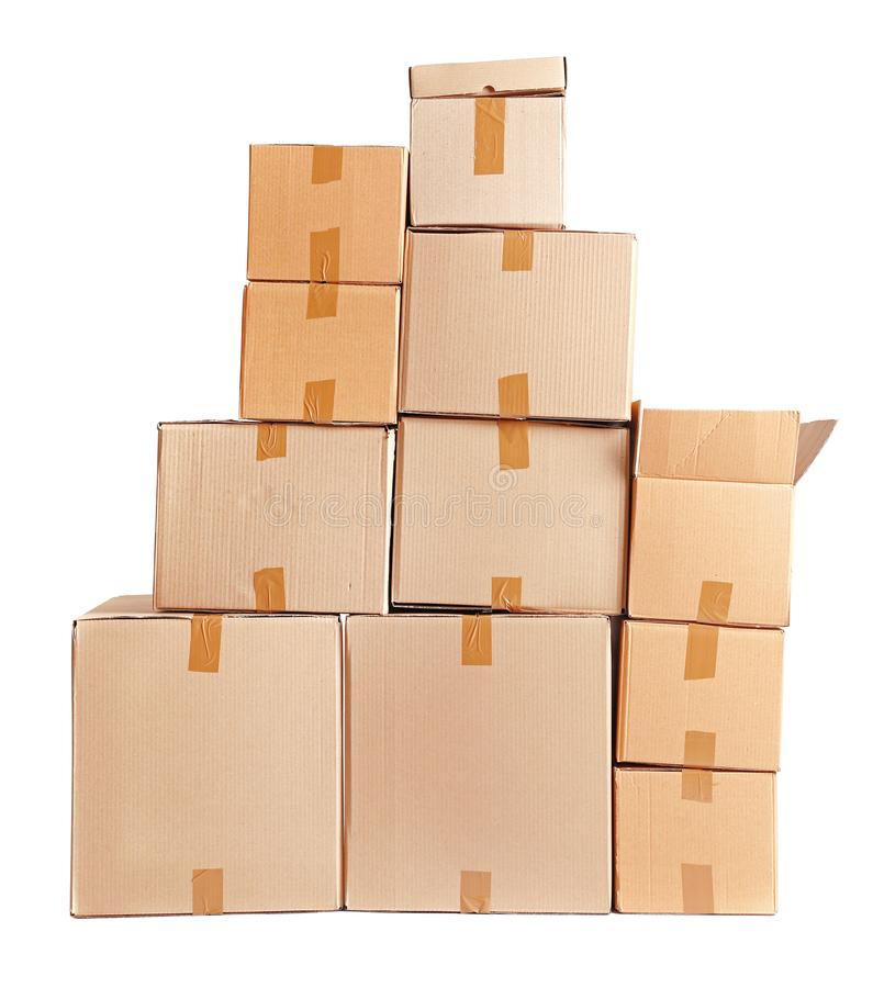 Cardboard boxes on background. Cardboard boxes on white background stock photo