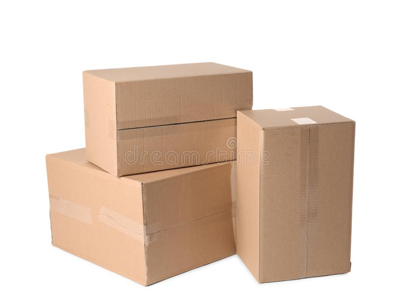 Cardboard boxes on white background. Mockup for design stock images
