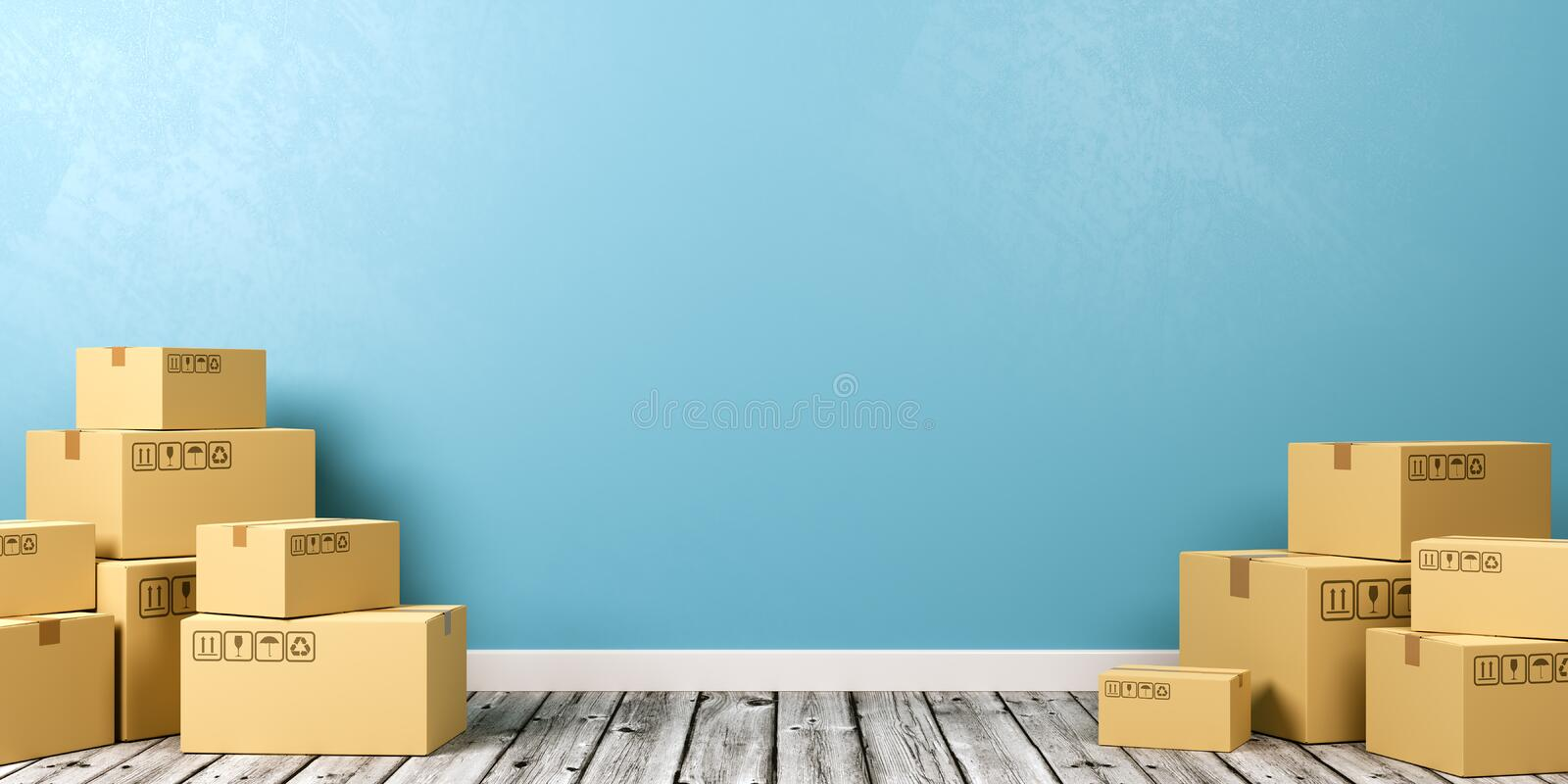 Cardboard Boxes on Wooden Floor vector illustration