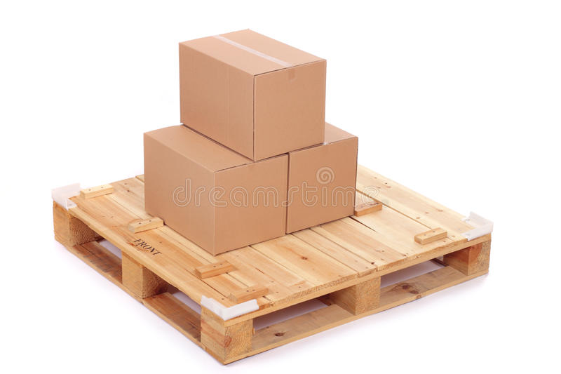 Cardboard Boxes On Wooden Palette Stock Images