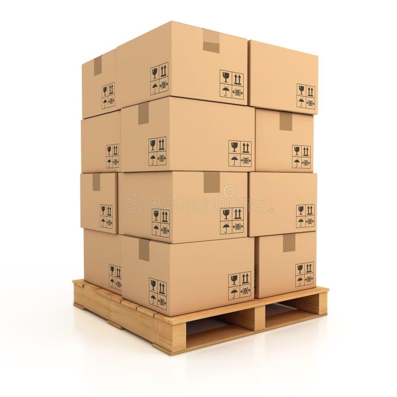 Cardboard boxes on wooden palette vector illustration