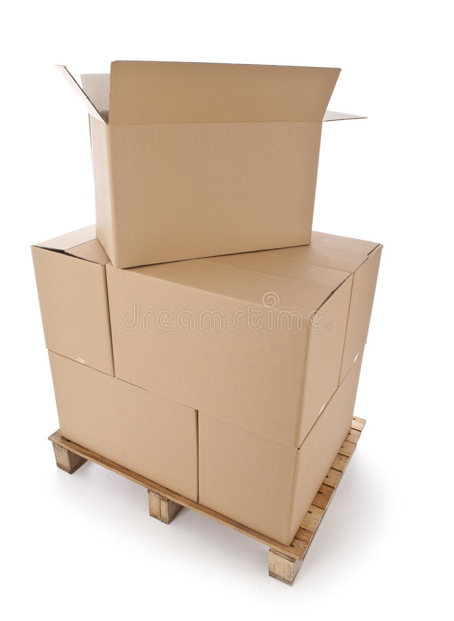 Download Cardboard Boxes On Wooden Palette Royalty Free Stock Image - Image: 30548816