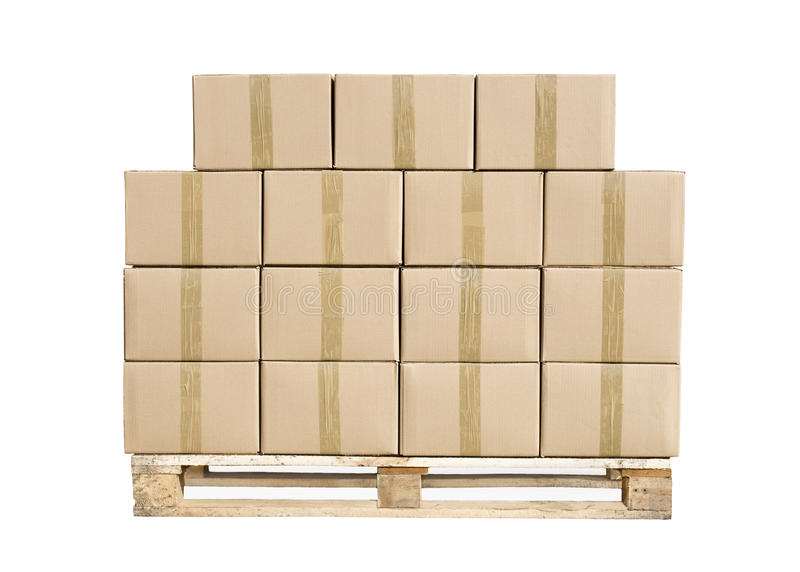 Cardboard boxes on wooden palette on white royalty free stock images