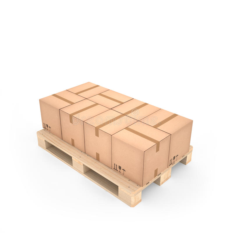 Cardboard boxes on wooden pallet (3d illustration) royalty free illustration